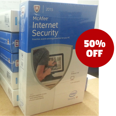 mcafee internet Security 50off Retail